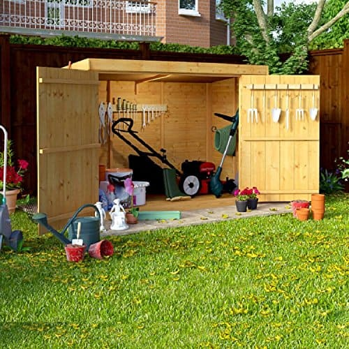 6x3 Overlap Wooden Pent Bike Storage Double Door Shed